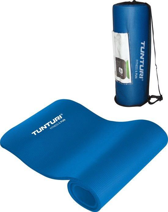 blauwe tunturi fitnessmat met tas